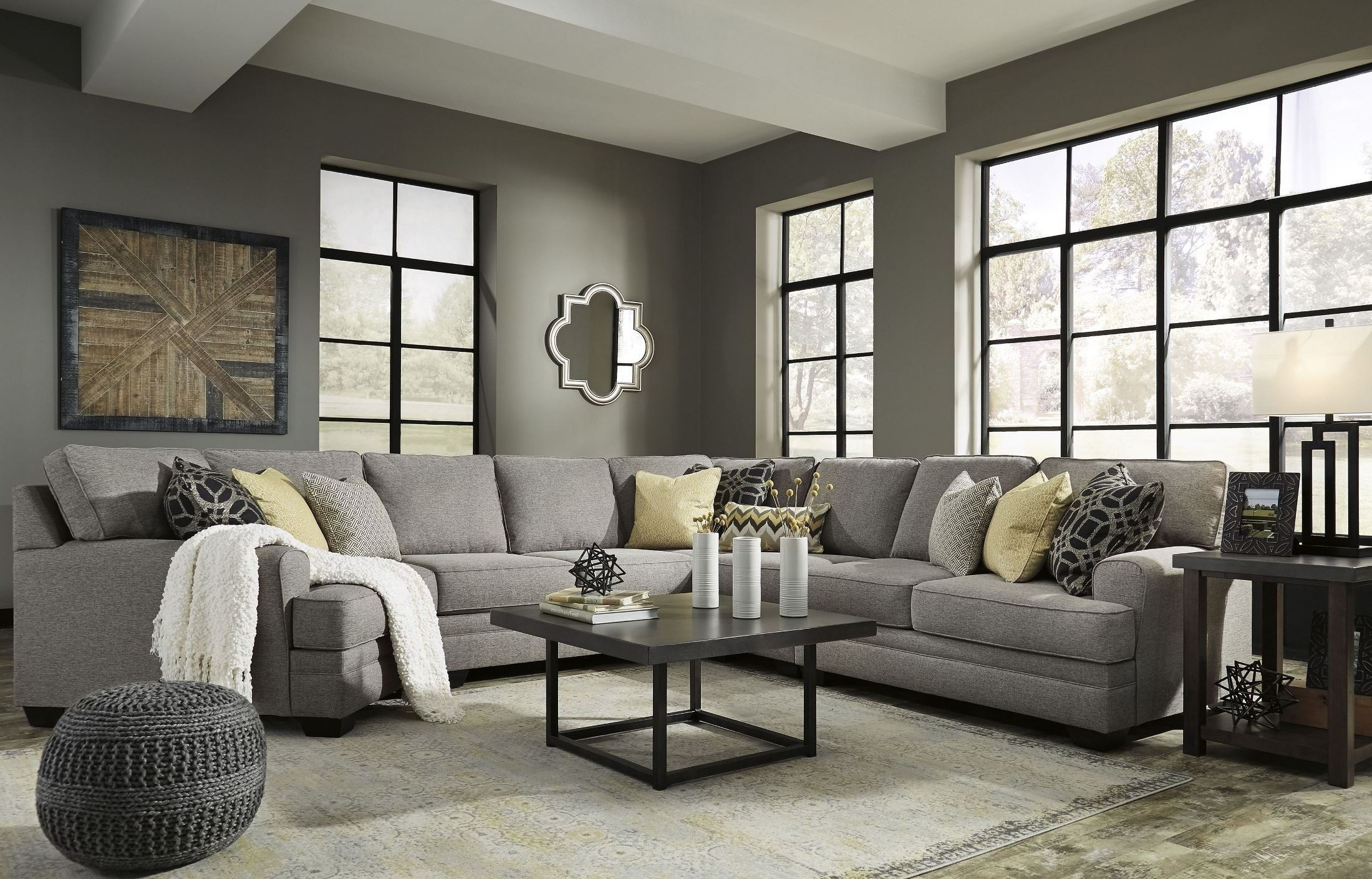 Cresson Pewter Laf Cuddler Sectional From Ashley | Coleman Furniture With Regard To Aspen 2 Piece Sleeper Sectionals With Raf Chaise (Image 10 of 25)
