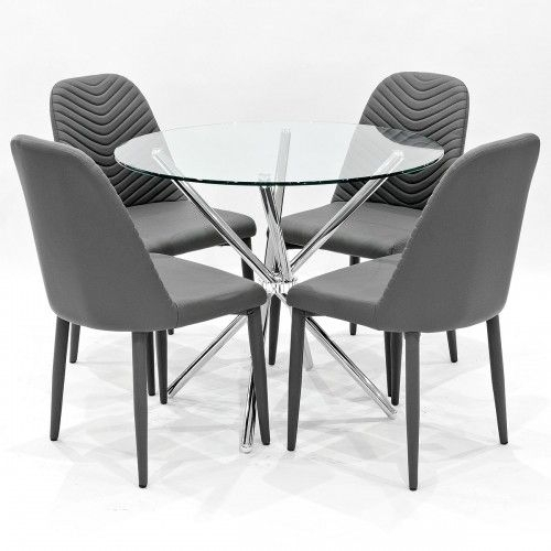 Criss Cross Glass Round Dining Table With Grey Chairs Regarding Grey Glass Dining Tables (Image 5 of 25)