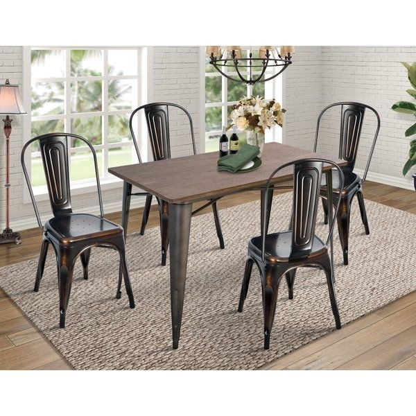 Croley 5 Piece Dining Set Throughout Jameson Grey 5 Piece Counter Sets (Image 9 of 25)