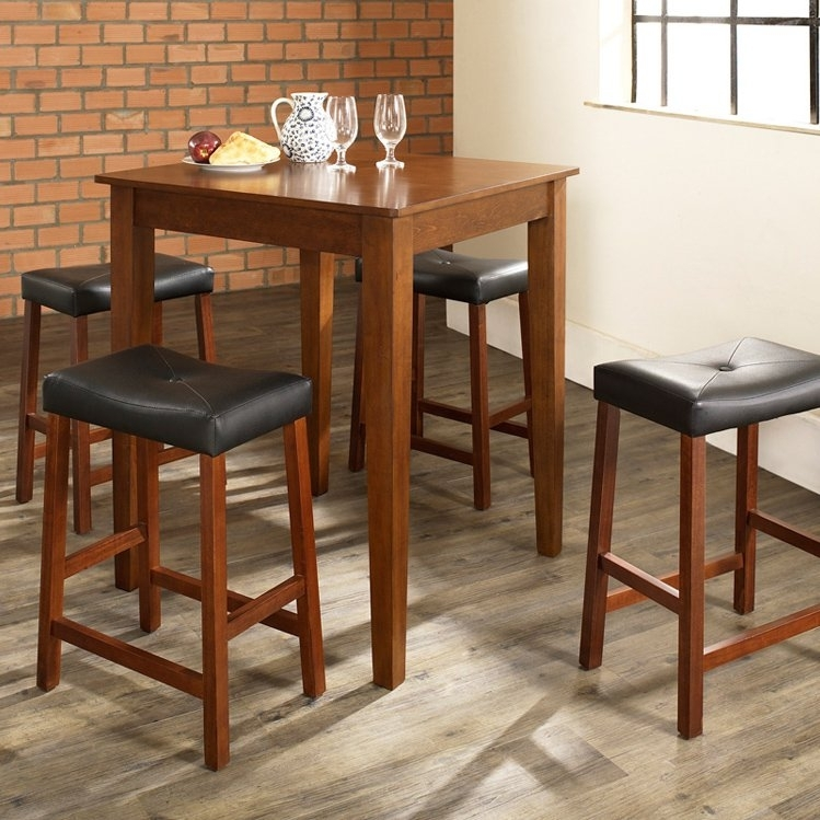 Crosley 5 Piece Pub Dining Set With Tapered Leg And Upholstered Throughout Market 5 Piece Counter Sets (Image 12 of 25)