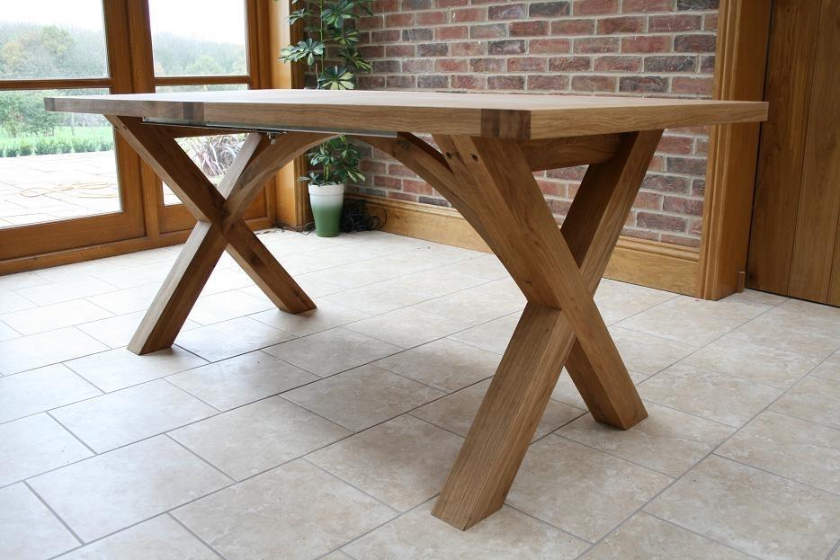 Cross Leg Dining Tables | Extending X Leg Tables | Oxbow Table Inside Oak Extending Dining Sets (Image 6 of 25)
