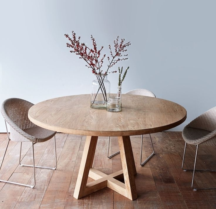 Cross Leg Round Dining Table Whitewashed Teak 160 | Dining Tables Regarding Circular Dining Tables (Image 12 of 25)