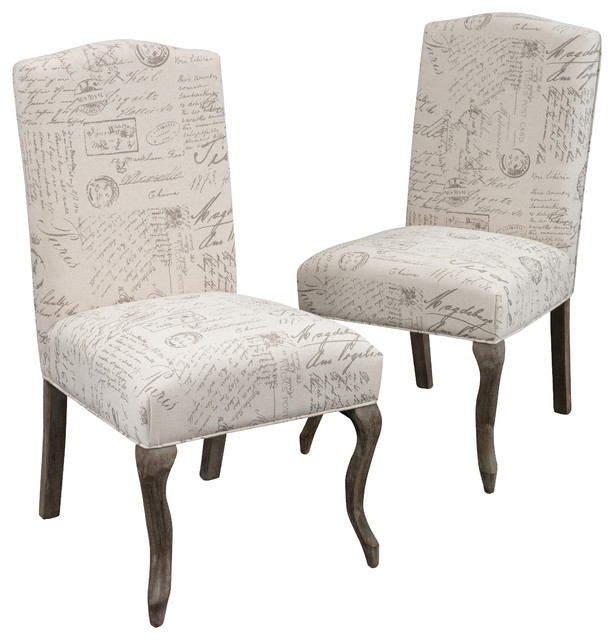 Crown Back French Script Beige Fabric Dining Chairs, Set Of 2 With Fabric Dining Chairs (Image 6 of 25)