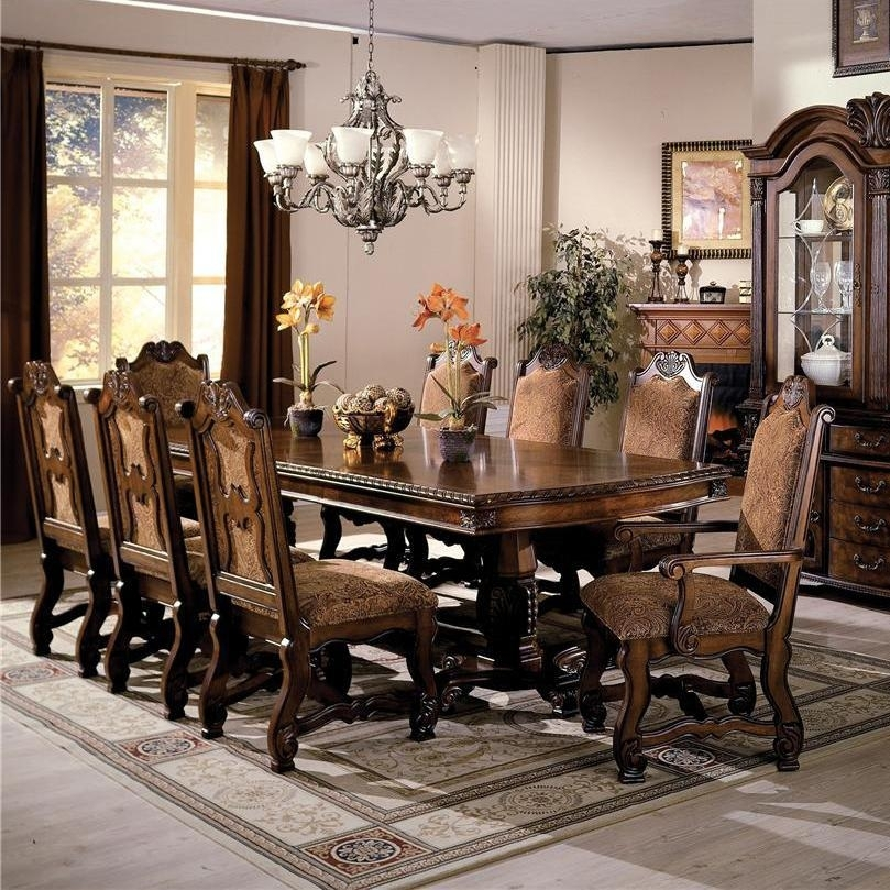 Crown Mark Neo Renaissance Double Pedestal Dining Table And Chairs Regarding Market 5 Piece Counter Sets (Image 13 of 25)