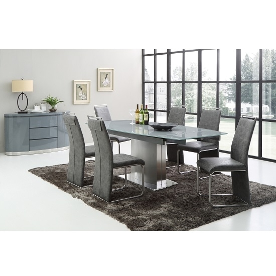 Cruise Extendable Dining Table In Grey Glass And 6 Dining For Grey Gloss Dining Tables (Image 4 of 25)