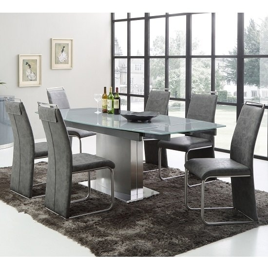 Cruise Extendable Dining Table In Grey Glass And 6 Dining With Glass Extendable Dining Tables And 6 Chairs (View 16 of 25)