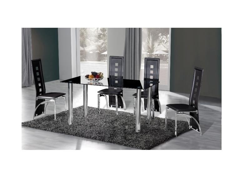 Crystal Black Glass Dining Table And 4 Chairs – Homegenies Inside Black Glass Dining Tables And 4 Chairs (Image 11 of 25)