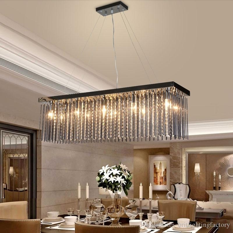 Crystal Lamp Rectangular Dining Room Pendant Lights Hotel Dining Regarding Led Dining Tables Lights (Image 8 of 25)