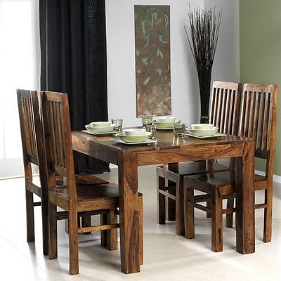 Cuba Solid Sheesham Chunky Wood Square Fixed Dining Table With 4 Intended For Sheesham Dining Tables And Chairs (Image 2 of 25)