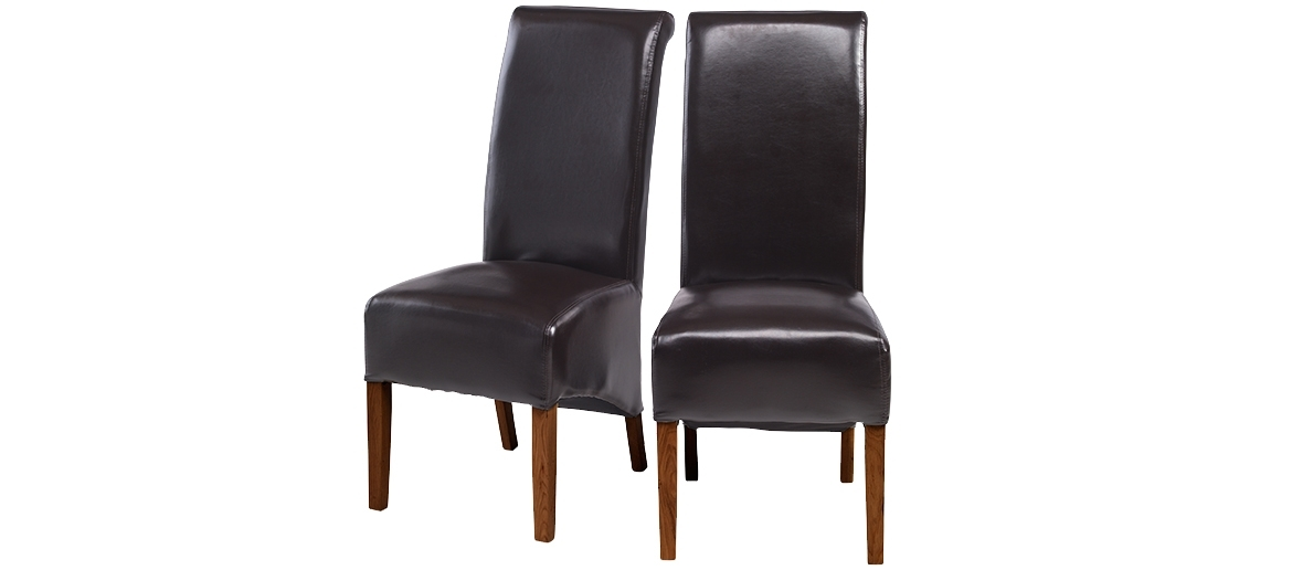 Cube Bonded Leather Dining Chairs Brown – Pair | Quercus Living Regarding Dark Brown Leather Dining Chairs (Image 10 of 25)