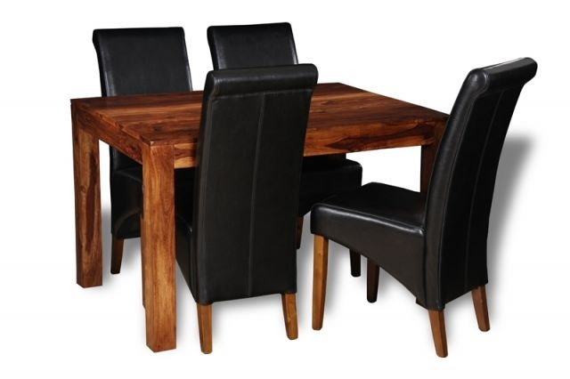 Cube Honey Medium Dining Table & 4 Rollback Chairs | Trade Furniture For Cube Dining Tables (Image 9 of 25)
