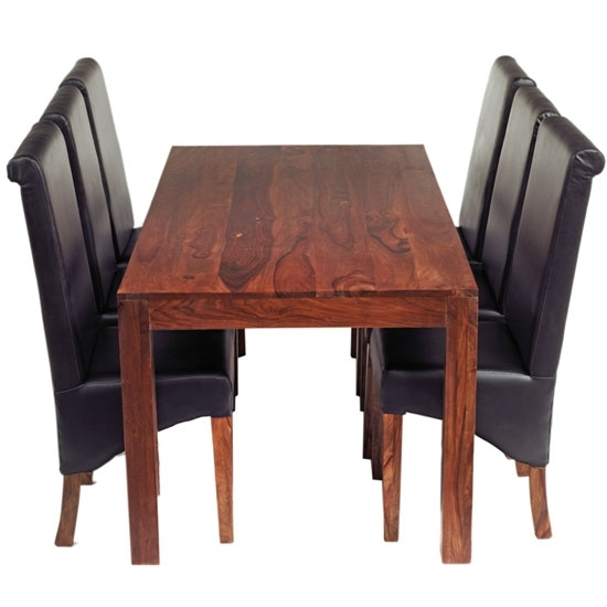 Cube Sheesham Dining Table Set With 6 Leather Chairs 17076 Inside Sheesham Dining Tables And 4 Chairs (Image 3 of 25)
