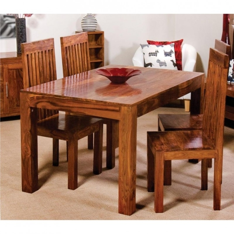 Cube Wooden Dining Table Set 4 Seater  Wooden Dining Table Online Inside Cube Dining Tables (Image 12 of 25)