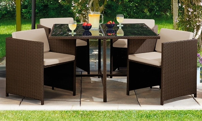 Cubic Siena Rattan Sets   Groupon Goods Regarding Outdoor Sienna Dining Tables (Image 3 of 25)