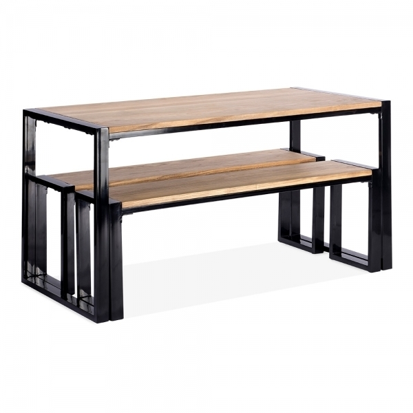 Cult Living Gastro Solid Wood Table And Benches Set Black 140Cm In Dining Tables And 2 Benches (Image 12 of 25)