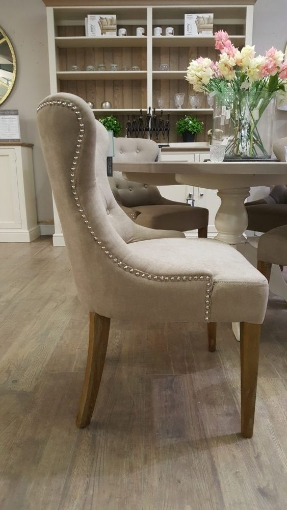 Curved Button Back Dining Chair In Soft Chenille | Pavilion Interiors In Button Back Dining Chairs (Image 13 of 25)