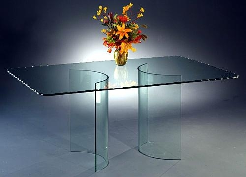 Curved Glass Dining Table Elegant Curve All Glass Dining Table Base Intended For Curved Glass Dining Tables (Image 8 of 25)