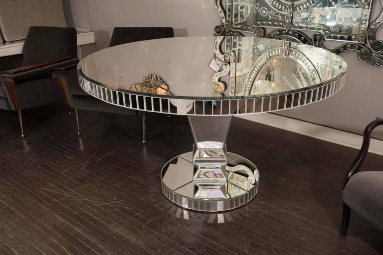 Custom Round Mirrored Dining Table For Sale At 1Stdibs Pertaining To Mirrored Dining Tables (Image 7 of 25)