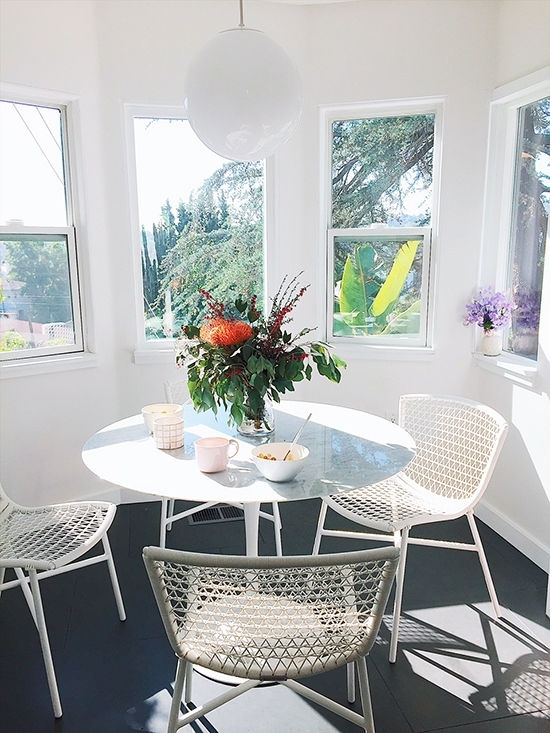 D E S I G N L O V E F E S T » Article Furniture Giveaway! Regarding Bale Rustic Grey 7 Piece Dining Sets With Pearson White Side Chairs (Image 13 of 25)