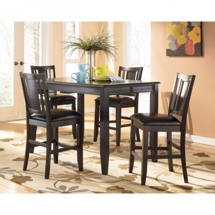 D371D5 Ashley Tack Carlyle 5 Piece Dining Set Pub Style Table 4 in Candice Ii 7 Piece Extension Rectangular Dining Sets With Uph Side Chairs