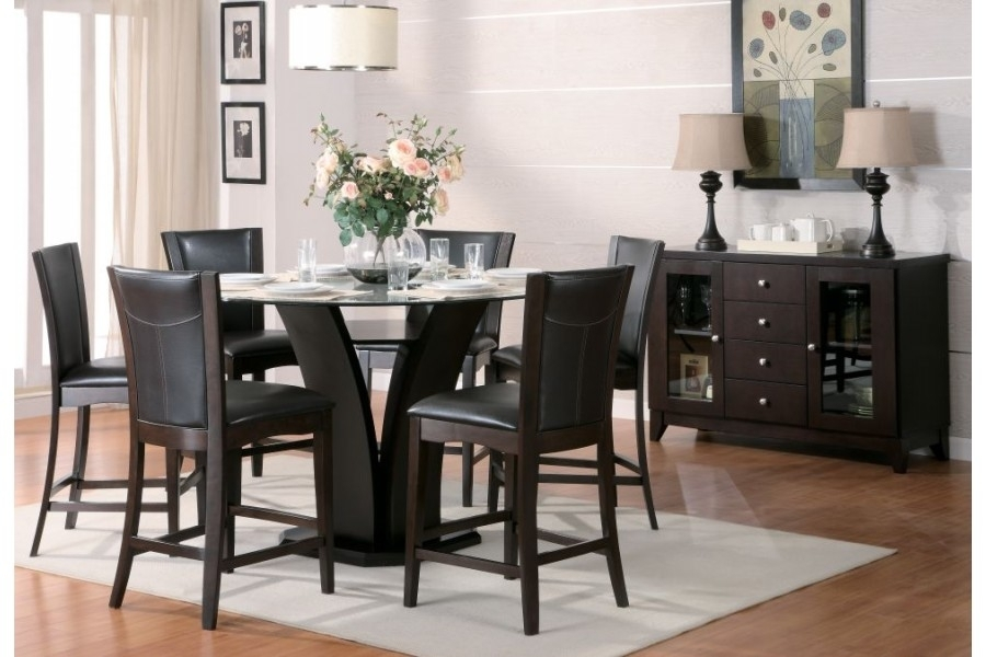 Daisy Counter Height Dining Set 710Homelegance | Home Elegance Usa in Caira Black 5 Piece Round Dining Sets With Upholstered Side Chairs