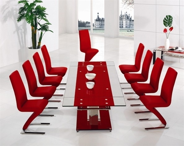Dakota Black Glass Dining Table With Armada Dining Chairs – Implex With Red Dining Tables And Chairs (Image 7 of 25)