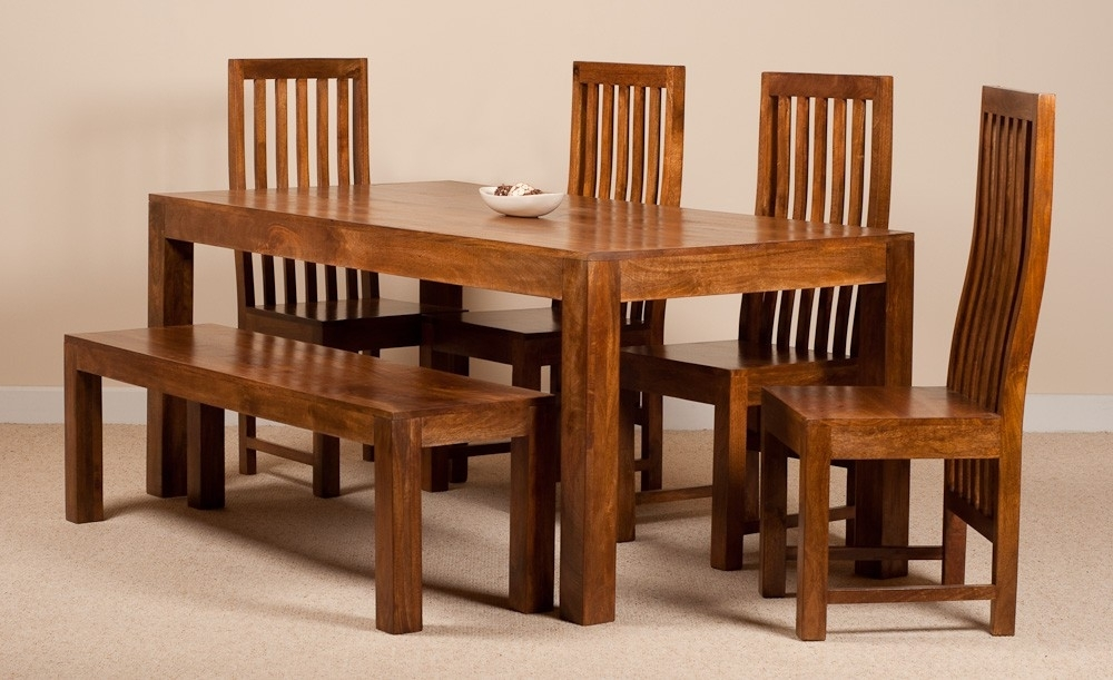 Dakota Mango 6 Seater Dining Set With Bench | Casa Bella Furniture Uk with Wooden Dining Tables and 6 Chairs