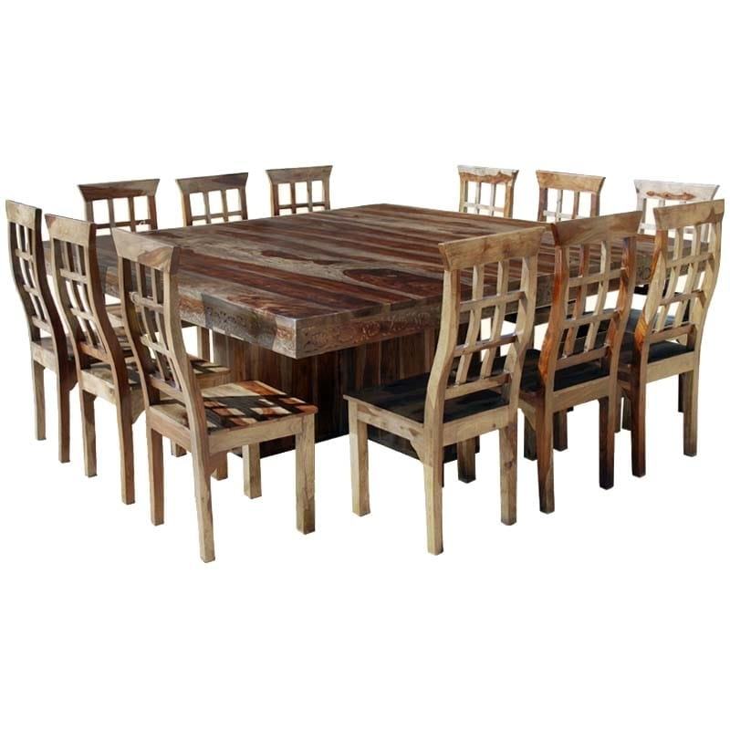 Dallas Ranch Large Square Dining Room Table And Chair Set For 12 In Square Dining Tables (Image 5 of 25)