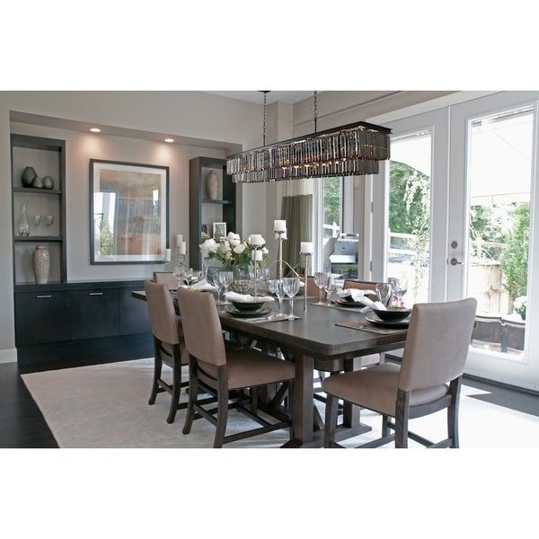 D'angelo 60 Inch Smoked Glass Rectangular Crystal Fringe Chandelier Inside Ina Pewter 60 Inch Counter Tables With Frosted Glass (Image 10 of 25)