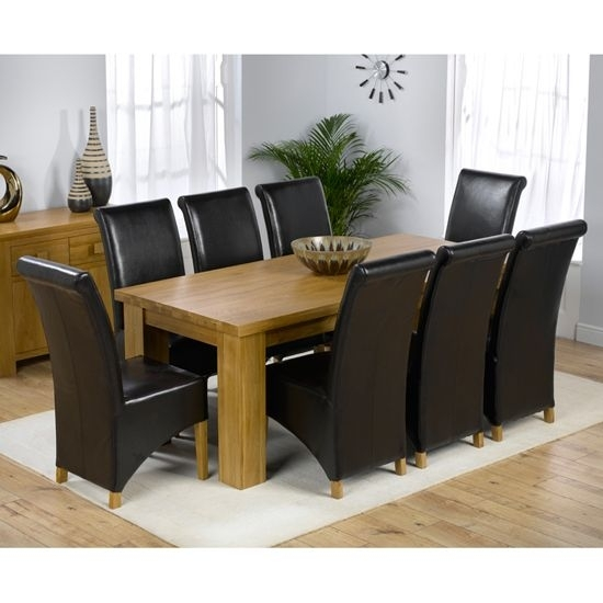 Daniela Chunky Solid Oak Dining Table + 8 Barcelona Chairs | For The In Chunky Solid Oak Dining Tables And 6 Chairs (Image 11 of 25)