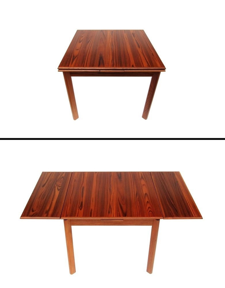 Danish Modern Brdr Furbo Spottrup Square Teak Expandable Leaf Dining Inside Candice Ii Extension Rectangle Dining Tables (Image 11 of 25)