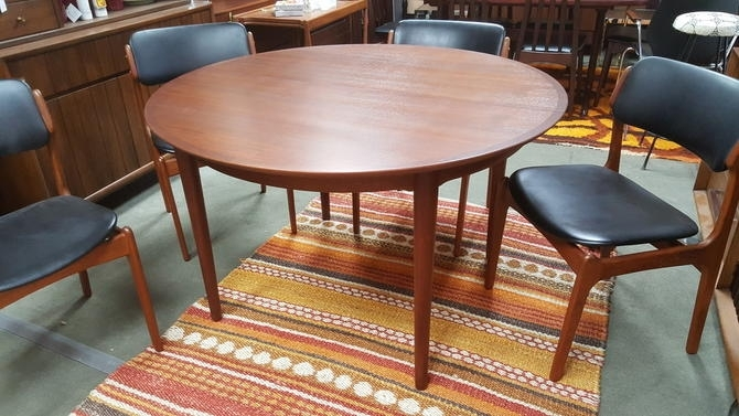 Danish Modern Round Teak Dining Table With 2 Large Extensions Throughout Round Teak Dining Tables (Image 5 of 25)