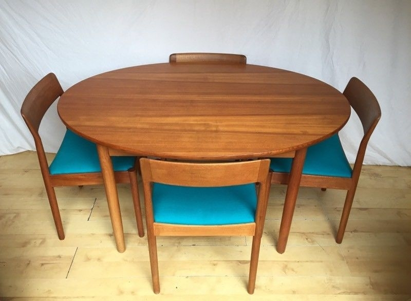 Danish Norgaards Teak Vintage Mid Century Oval Round Extending With Oval Extending Dining Tables And Chairs (Image 11 of 25)