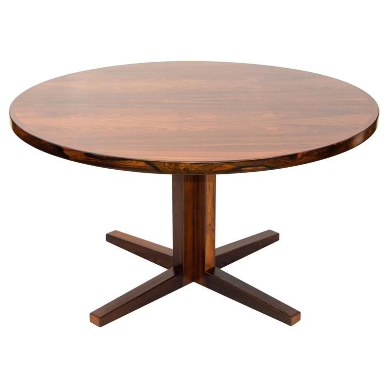 Danish Rosewood Round Pedestal Dining Table, One Leaf At 1Stdibs Throughout Danish Dining Tables (Image 16 of 25)