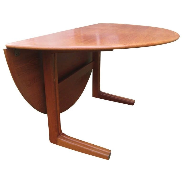 Danish Teak Round Drop Leaf Dining Table | Ideas For The House Inside Half Moon Dining Table Sets (Image 5 of 25)