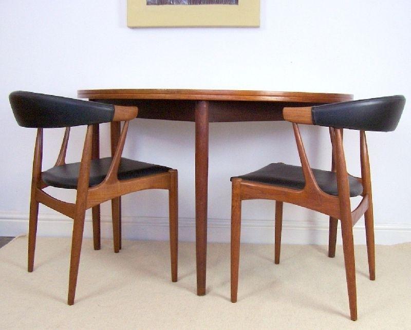 Danish Teak Tablepoul Volther For Frem Rojle – Half Moon Fold Intended For Half Moon Dining Table Sets (View 11 of 25)