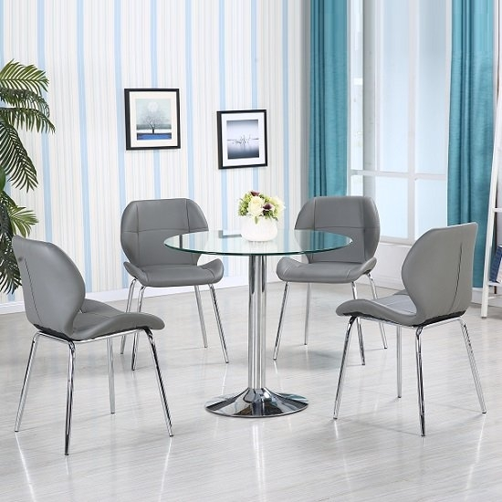 Dante Glass Dining Table In Clear With 4 Grey Darcy Chairs Inside Dining Tables With Grey Chairs (Image 8 of 25)