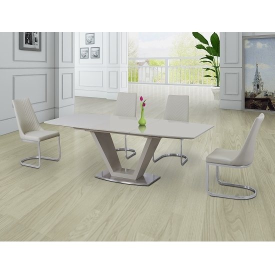 Danton Glass Extendable Dining Set Cream Gloss And 6 Roxy In Cream Gloss Dining Tables And Chairs (View 18 of 25)