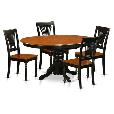 Darby Home Co Attamore 5 Piece Dining Set Finish: Black | Products Within Laurent 5 Piece Round Dining Sets With Wood Chairs (View 25 of 25)
