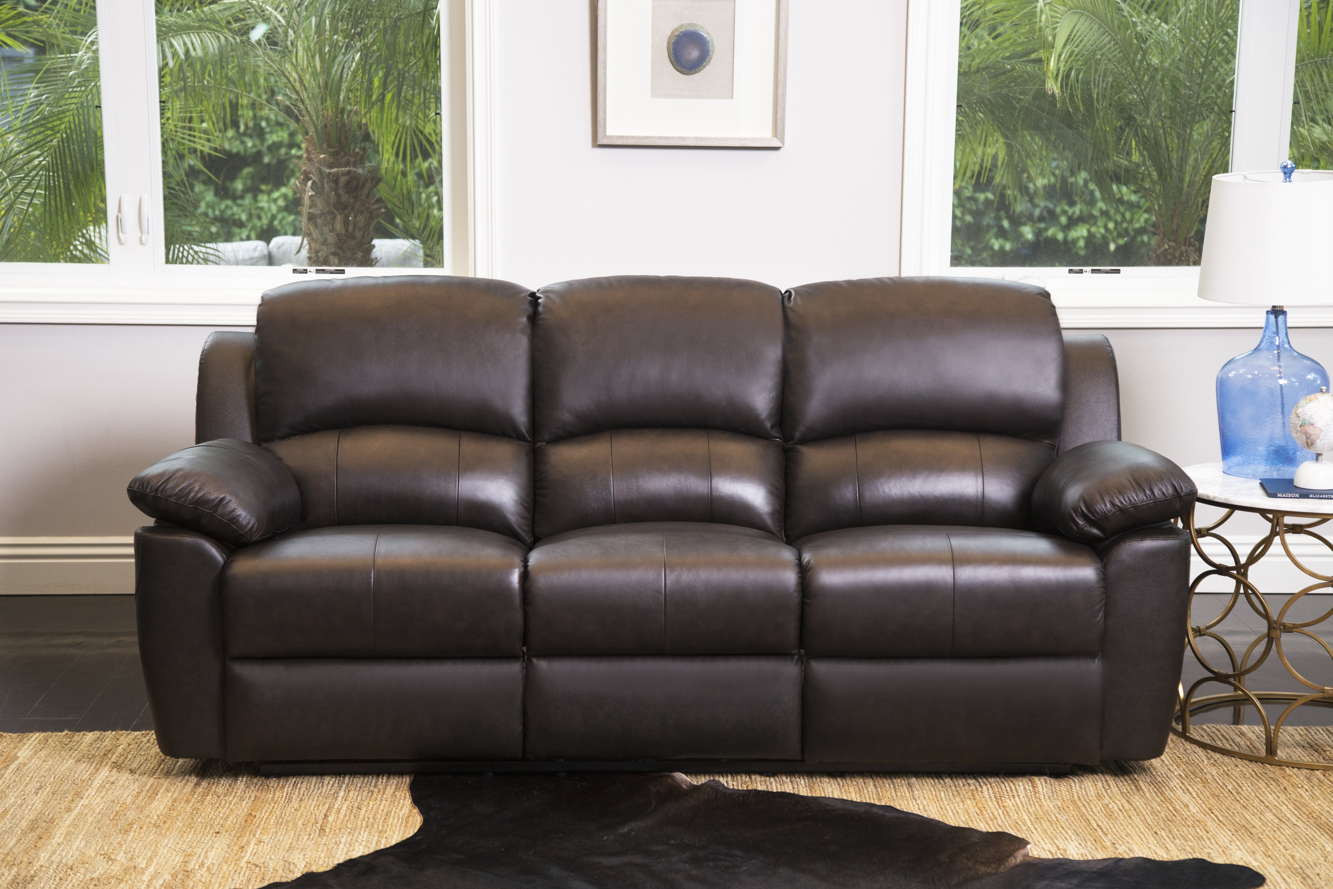 Darby Home Co Blackmoor Genuine Leather Reclining Sofa & Reviews In Travis Dk Grey Leather 6 Piece Power Reclining Sectionals With Power Headrest & Usb (Image 9 of 25)