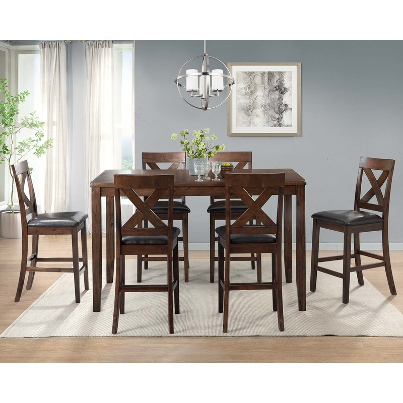 Darby Home Co Makaila 7 Piece Counter Height Dining Set & Reviews For Candice Ii 6 Piece Extension Rectangle Dining Sets (Image 10 of 25)