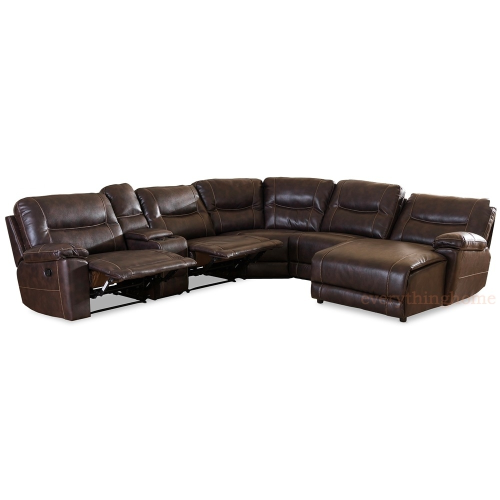 Dark Brown Bonded Leather 6 Piece Theater Sectional Sofa Recliner Inside Evan 2 Piece Sectionals With Raf Chaise (Image 10 of 25)