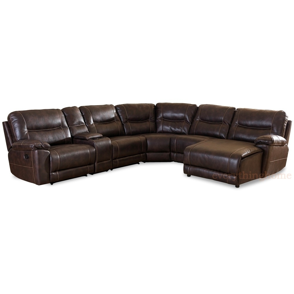Dark Brown Bonded Leather 6 Piece Theater Sectional Sofa Recliner Within Evan 2 Piece Sectionals With Raf Chaise (Image 10 of 25)