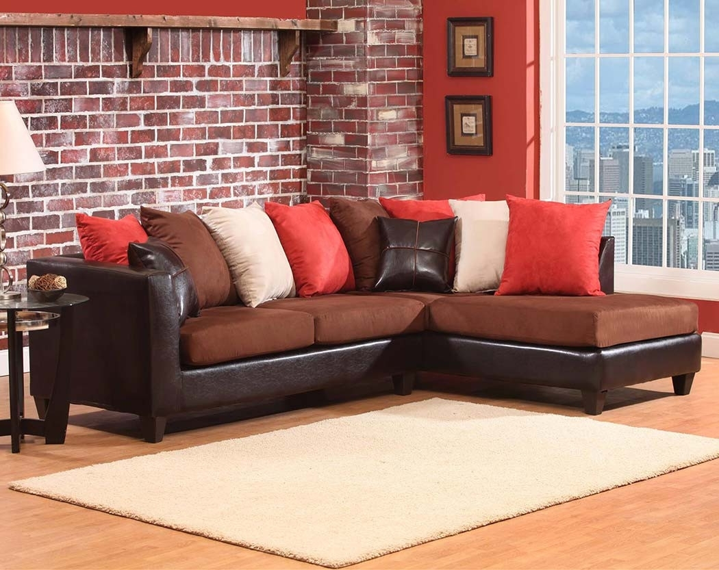 Dark Brown Chocoloate Couch, 2 Pc (Image 8 of 33)