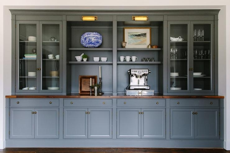 Dark Gray Dining Room Cabinets And Shelves – Transitional – Dining Room Throughout Dining Room Cabinets (Image 12 of 25)