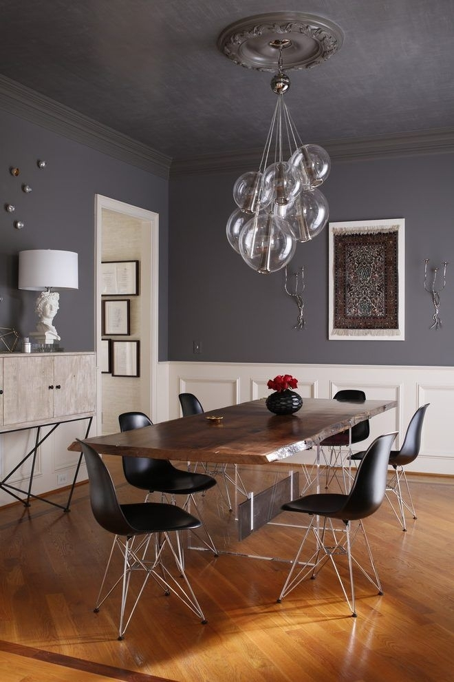 Dark Gray Dining Table Dining Room Contemporary With Ceiling Throughout Combs 7 Piece Dining Sets With  Mindy Slipcovered Chairs (Image 9 of 25)