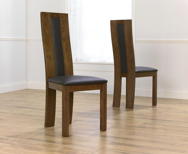 Dark Havana Solid Dark Oak Chair With Bycast Brown Leather Seat (A Throughout Dark Brown Leather Dining Chairs (Image 11 of 25)