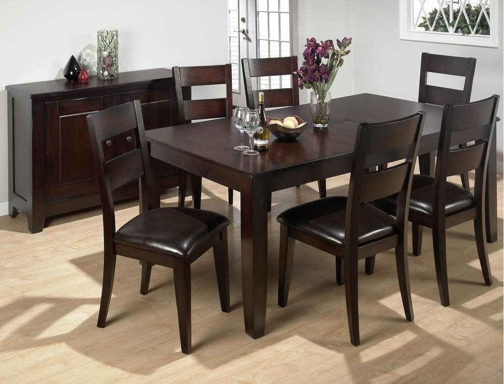 Dark Rustic Prairie Rectangle Dining Table With Six Chairs With Dining Tables And Six Chairs (Image 9 of 25)