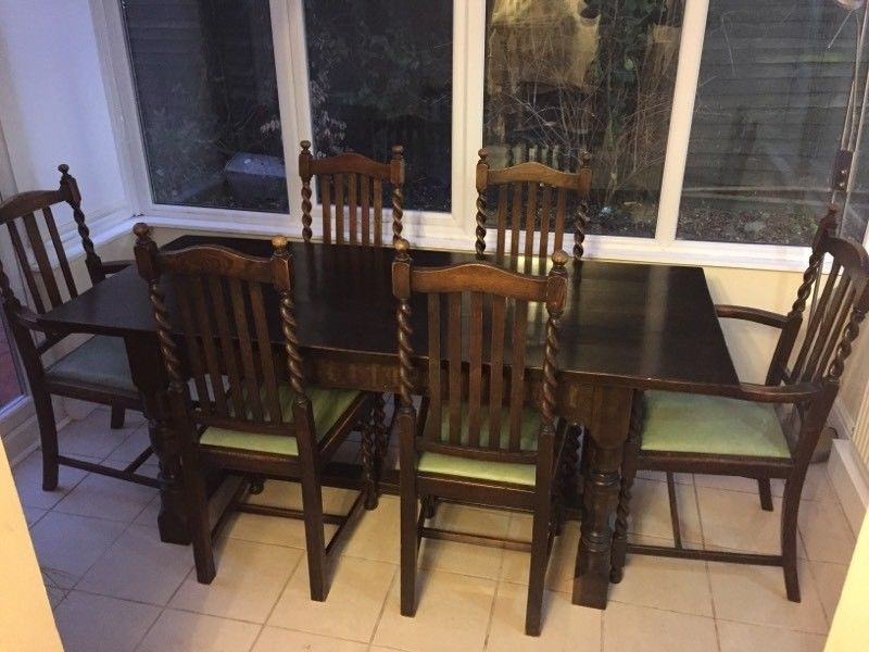 Dark Solid Wood Dining Table & 8 Turned Spindle Chairs | In Within Dark Solid Wood Dining Tables (Image 8 of 25)