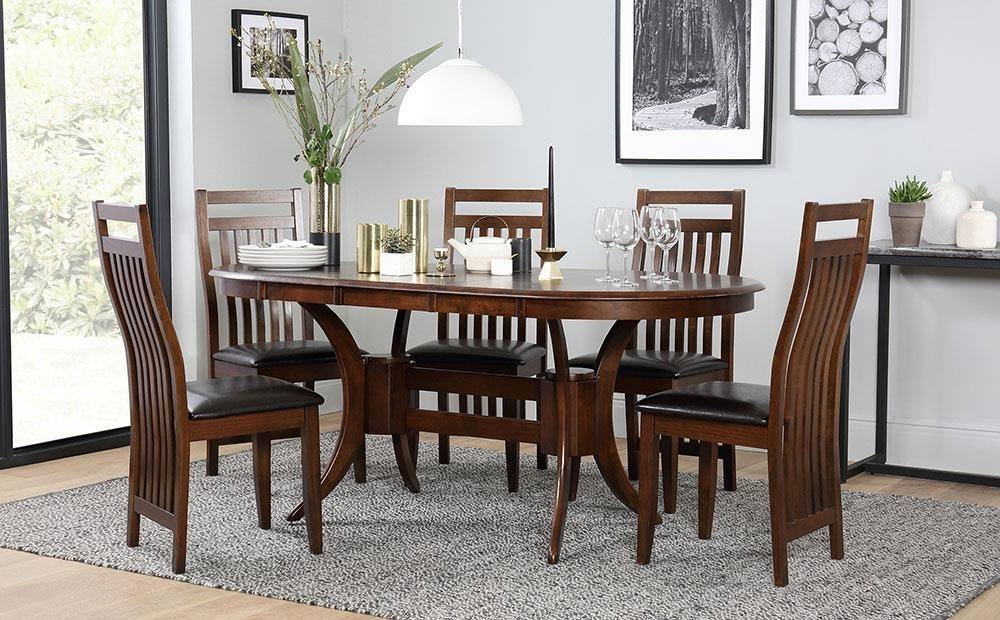 Dark Townhouse & Java Oval Extending Dining Table And 4 6 Chairs Set Inside Extending Dining Tables And 6 Chairs (View 5 of 25)